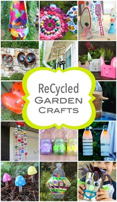 Recycled garden crafts for spring time kids crafts Recycled Garden Crafts, Garden Crafts For Kids, Upcycled Crafts, Recycled Art, Garden Projects, Projects For Kids, Fun Crafts, Craft Projects, Arts And Crafts