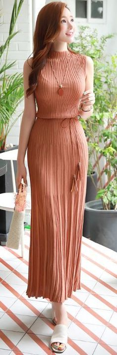 StyleOnme_Slim Fit Pleated Maxi Knit Dress #camel #pleats #maxi #dress #elegant #koreanfashion #kstyle #kfashion #seoul #summerlook