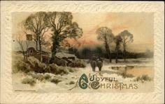 Christmas Horses Winter Scene WINSCH Gilt Embossed c1910 Postcard