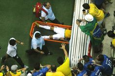 Brazil vs Germany Neymar was not there. Neymar is carried off the pitch on a stretcher after being injured during the quarter-final football match between Brazil and Colombia at the Castelao Stadium in Fortaleza during the 2014 FIFA World Cup, July Pictures Of The Week, Cool Pictures, Cool Photos, World Cup 2014, Fifa World Cup, Brazil Vs Germany, Football Match, Time Photo, Best Player
