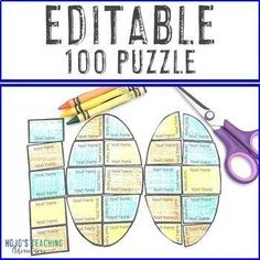 EDITABLE 100th Day of School Puzzle: Make a Math or Literacy Activity Game |  1st, 2nd, 3rd, 4th, 5th, 7th, 8th grade, Activities, English Language Arts, Fun Stuff, Games, Holidays/Seasonal, Homeschool, Math, Middle School