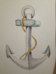 Watercolor anchor.  WildblumenINK Contact Megan at mtjohnson31@gmail.com