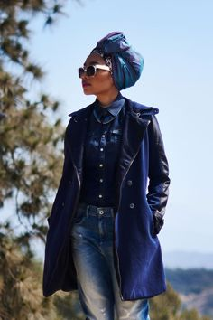 Yuna is wearing the Type C 3D Loose Tapered, the Romero Marker Wedge Mix, the RAW Peacoat and the Tailor Contour Slim Shirt