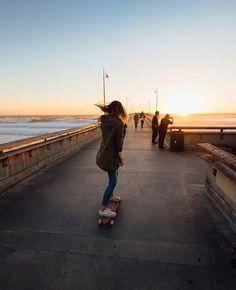 Pinterest: iamtaylorjess | Longboarding at sunset