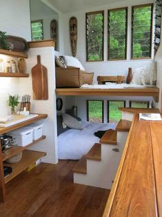 tiny house design \ tiny house & tiny house design & tiny house plans & tiny house living & tiny house ideas & tiny house interior & tiny house bathroom & tiny house on wheels Tiny House Movement, Casas Containers, Tiny House Living, House 2, Tiny House Stairs, House Wall, House With Garden, Tiny Living Rooms, Loft Stairs