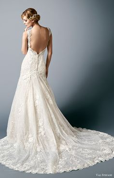 val stefani bridal fall 2016 sleeveless sweetheart lace mermaid wedding dress (rosalind) bv train