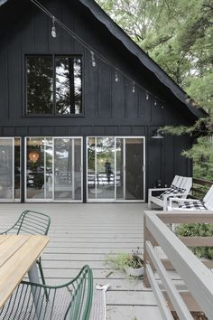 Black Exterior Paint on the Cabin! – Deuce Cities Henhouse Black Exterior Paint on the Cabin! – Deuce Cities Henhouse Image Size: 1000 x Cabin Exterior Colors, Log Cabin Exterior, Black Exterior, Exterior Paint Colors, Deck Colors, House Colors, A Frame Cabin, Cabin Kitchens, Cottage