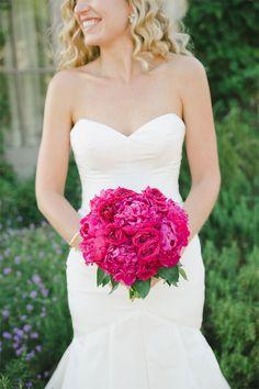 magenta wedding bouquet, definitely a POP of color! love this. #popofcolor http://www.weddingchicks.com/2013/11/20/austin-wedding-venue/