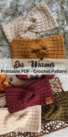 13 Crochet Ear Warmer Patterns – Keep Warm - A More Crafty Life - crochet headband pattern knit hat ear warmers Make a Cozy Ear Warmer Crochet Scarves, Crochet Clothes, Crochet Yarn, Crochet Stitches, Crochet Ear Warmer Pattern, Crochet Headband Pattern, Crochet Ear Warmers, Crochet Headbands, Knitting Patterns