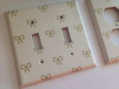 Gold White Bows Double Light Switch Plate Cover Outlets / Gold Home Decor / Gold Bedroom Decor / Gold Nursery Decor / Gold Room Decor by COUTURELIGHTPLATES on Etsy https://www.etsy.com/listing/245086909/gold-white-bows-double-light-switch