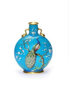 "* Minton large moon flask 14"" c dresser - painted with a palm on the other side - DUPLICATE?"