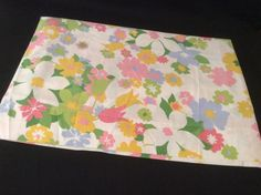 Vintage CANNON Double Flat Sheet Hippy Retro No-Iron Colorful Flowers