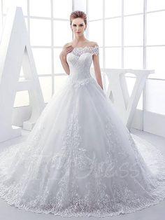 #AdoreWe #TBDress TBDress Off-The-Shoulder Lace Chapel Ball Gown Wedding Dress - AdoreWe.com