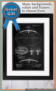 Early Football Patent Poster Print and Wall Art Decor