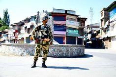 A view of strict curfew being enforced in Anantnag . -Excelsior/Sajad Dar