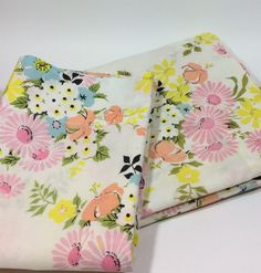 vintage springmaid pequot twin flat sheet u0026 pillowcase pink yellow blue pastel floral bouquets by