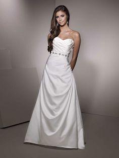A-line sweetheart sweep train  glamorous satin with beading wedding dress