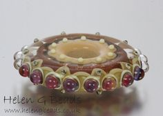 Lampwork Disc or Wheel Focal Bead in Gold Brown & by helengbeads