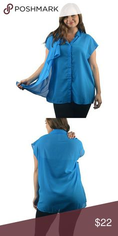 Final Price Plus Size Sheer sleeveless flowy top Blue flowy top Tops