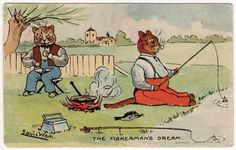 Louis Wain Artwork Postcard of Dressed Cats Fishing and Cooking Over Fire | eBay