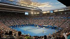 Australian Open Tennis at the Rod Laver arena, Melbourne Park, Melbourne, Victoria Melbourne Cbd, Melbourne Australia, Melbourne Victoria, Australian Open Tennis, Rod Laver Arena, Travel Tours, Live In The Now, Streaming Movies, Movies Online