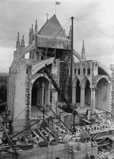 This is an old photo from April 2nd, 1925, showing the National Cathedral under construction. Washington DC
