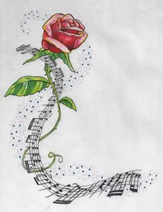 Adele Inspired Tattoo Idea by artfullycreative on DeviantArt - Rose and Music with Stardust by artfullycreative - Music Tattoo Designs, Music Tattoos, Small Tattoo Designs, Word Tattoos, Music Images, Music Pictures, Music Notes Art, Rose Music, Tattoos For Women Half Sleeve
