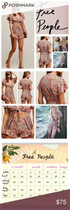 "Free People Surf Date Floral Printed Romper. NWOT. Free People Surf Date Floral Printed Romper, 100% rayon, washable, 18"" armpit to armpit (36"" all around), 28"" waist, 31"" length, beautiful printed romper featuring a plunging neckline and knotted detail at the bust with exposed midriff cutout accent, ruffled hem, hidden side zip, measurements are approx.  New without tag, never worn.  NO TRADES Free People Pants Jumpsuits & Rompers"