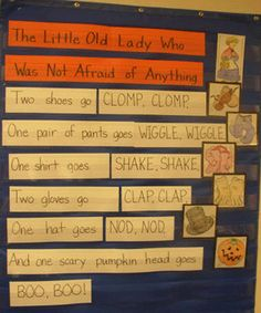 The Little Old Lady Who Was Not Afraid of Anything pocket chart idea Fall Preschool, Preschool Books, Kindergarten Literacy, Early Literacy, Language Activities, Book Activities, Kindergarten Anchor Charts, First Grade Reading, Teaching Reading