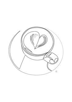 Cappuccino Latte Coffee Mug With Heart Design , Minimal Art, Black And White, One Line Art, Coffee L - Porty Haggath Coffee Icon, Coffee Logo, Coffee Latte, Coffee Mug Drawing, Coffee Artwork, Minimal Art, Coffee Heart, Coffee Girl, Graphisches Design