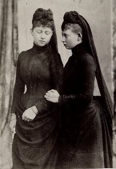 Tempus fugit, mors venit....Princess Sophie & Margaret  of Prussia mourning their father, the late Kaiser Friedrich III. 1888.
