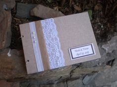 Rustic Wedding guestbook- lace and linen guest book