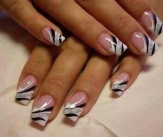"""design on ring finger with a regular french manicure would be cute and not so """"busy"""""""