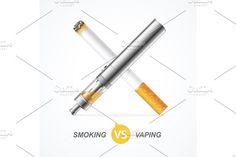 Smoking vs Vaping. Vector Graphics Smoking vs Vaping. Vape Trend E-cigarette or Tobacco Cigarette. Vector illustration by Stacy