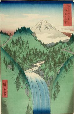 Hiroshige ukiyo-e. Ukiyo-e is a type of Japanese printmaking art, which often focuses on scenes of nature or city life. It was especially prominent around the Edo period and has been a source of inspiration for Western artists. The most well-known Ukiyo-e is the famous Great Wave.