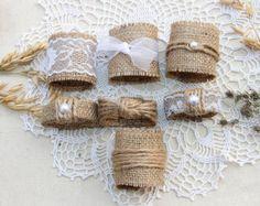 100  150 arpillera boda servilleteros boda rústica por MagicalStart