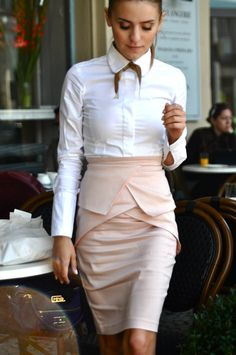 architectural peplum + crisp tailored blouse + brown ribbon neck tie <3
