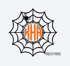 Spiderweb Monogram Vinyl Decal, Halloween Decal, Monogram Decal, Spider Decal, Car Decal, Yeti Decal, Halloween, Spiderweb, Spider, Glitter by MadeByParris on Etsy