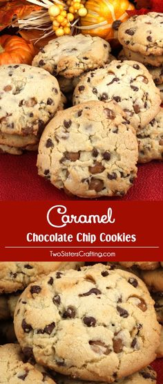 Caramel Chocolate Chip Cookies - a fun and delicious Christmas Treat that is perfect for Fall, Thanksgiving, Christmas or just a random Wednesday. Chock full of mini chocolate chips and Kraft Caramel Bits these yummy Christmas Cookies are super easy to make and will be a hit at your Holiday Cookie Exchange. Pin this Thanksgiving Treat for later and follow us for more great Christmas Food Ideas.