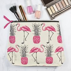 Flamingos and Pineapples Make Up Bag by yvonneellen on Etsy