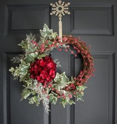 Christmas Hydrangea and Ivy Wreath with Frosted Berries, Holiday Door Wreath, Seasonal Wreaths, Housewarming Gift, Wreath Decorations by Home Hearth Garden