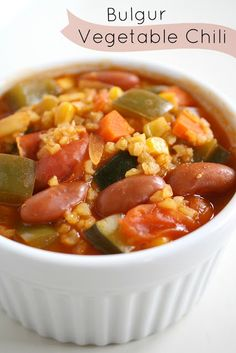 Bulgur Vegetable Chili. Thick and hearty - so delicious!