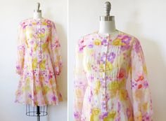 60s floral dress / vintage 1960s pink and by RustBeltThreads