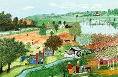 Come Bossy by Anna Mary Robertson Moses Handmade oil painting reproduction on canvas for sale,We can offer Framed art,Wall Art,Gallery Wrap and Stretched Canvas,Choose from multiple sizes and frames at discount price. Grandma Moses, Lake Painting, Art Articles, Oil Painting Reproductions, Naive Art, Realism Art, Graphic Illustration, Folk Art, Rachel Grant