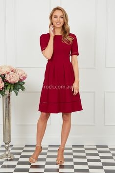 Chasing Kate Lucia Mid Length Dress in Wine