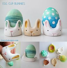 polymer clay egg cup bunnies