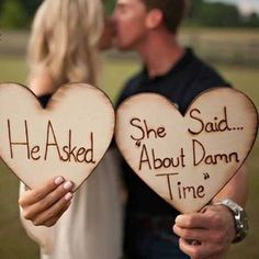 He asked she said about damn time! Wood burned wood hearts! These are fantastic for engagement photos! Supplies are limited don't miss out on this fabulous wood item. Looks great for save the date car #weddingphotography