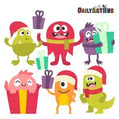 FREE Christmas Monsters Clip Art Set