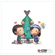 We have a Disney tree topper! Cute Couple Cartoon, Cute Cartoon Characters, Chibi Couple, Funny Love Story, Cute Love Stories, Disney Tree Topper, Hj History, Love Matters, Cartoons Love