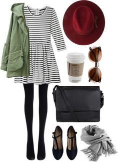 Anorak / F21 Striped Dress / Black Tights / T Strap Flats / Black Leather Messenger Bag / Wine Brimmed Hat / Grey Scarf / Cat-Eye Sunnies